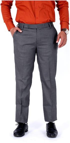 V POSH Men Checked Regular Fit Formal Trouser - Grey