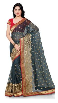 Four Seasons Georgette Universal Embroidered Work Saree - Grey