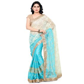 Four Seasons Blue Jacquard & Satin Embroidery Sari With Blouse