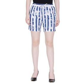 Fragrant Flower Women Striped Regular shorts - Blue & White