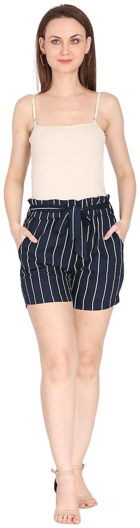 Fragrant Flower Crepe Navy Blue Striped Regular Shorts  For Women