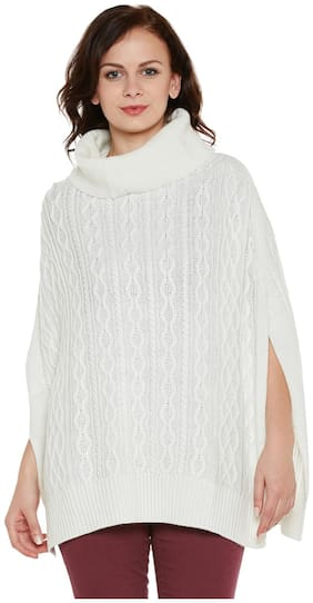 Cayman Blended Poncho - White