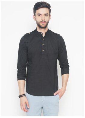 The Indian Garage Co Men Short Cotton Solid Kurta - Black