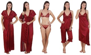 Freely Maroon Night Gown & Robe and Lingerie Set