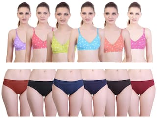 Freely Printed Cotton Bra & Panty Combo - Pack of 12