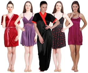 Women Solid Nightdress ,Pack Of 5