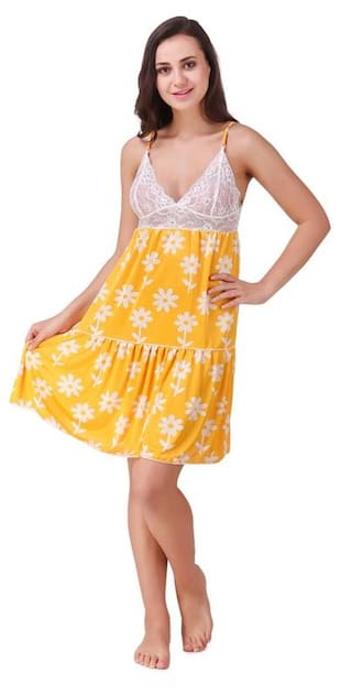d31ddd8e73 Buy Freely Yellow color Floral Printed Babydoll Nighty Online at Low ...