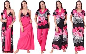 Women Printed Nightdress ,Pack Of 5