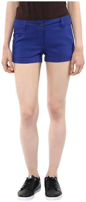 French Fusion Women Solid Hot pants - Blue