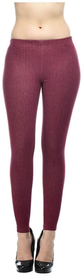 French Trendz Women Skinny Fit Mid Rise Solid Jegging - Pink
