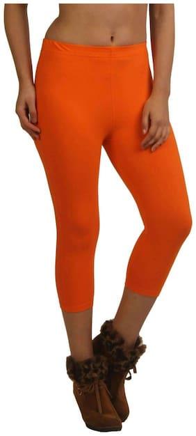 French Trendz Women Solid Regular capri - Orange