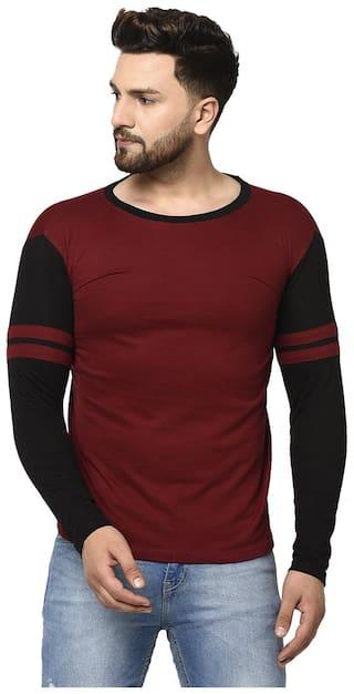 FREQUE Men Maroon & Black Regular fit Cotton Blend Round Neck T-Shirt