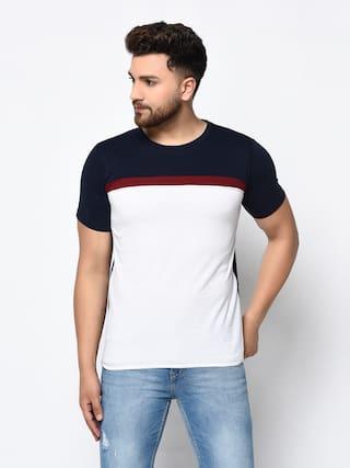 FREQUE Men Multi Regular fit Cotton Blend Round Neck T-Shirt