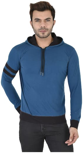FREQUE Men Blue & Black Regular fit Cotton Blend Hood T-Shirt - Pack Of 1