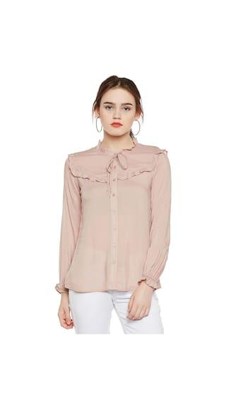 Frilled Button-down Shirt