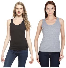 Friskers Black And Grey Cotton Camisole & Tank Tops Pack of 2