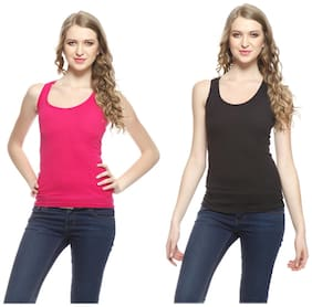 Friskers Black And Red Cotton Camisole & Tank Tops Pack of 2
