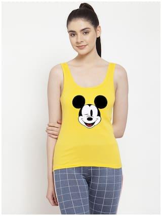 Friskers Women Yellow Regular fit U neck Cotton Tank top