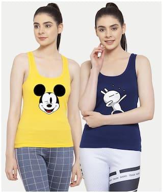 Friskers Women Yellow & Blue Regular fit U neck Cotton Tank top