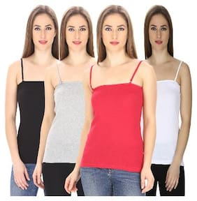 Friskers Multi Colored Cotton Camisole slip Pack of 4