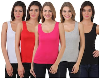 Friskers Black White Red Grey Pink Cotton Camisole & Tank Top Pack of 5