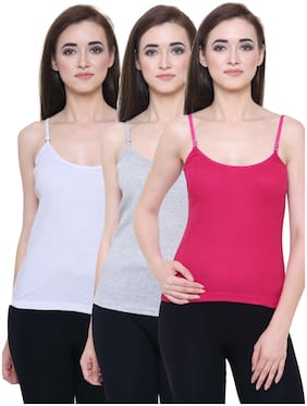 Friskers White & Grey & Rani Women Camisole Pack of 3