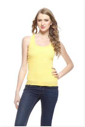 Flyers Women Yellow Regular fit Boat neck Cotton Tank top