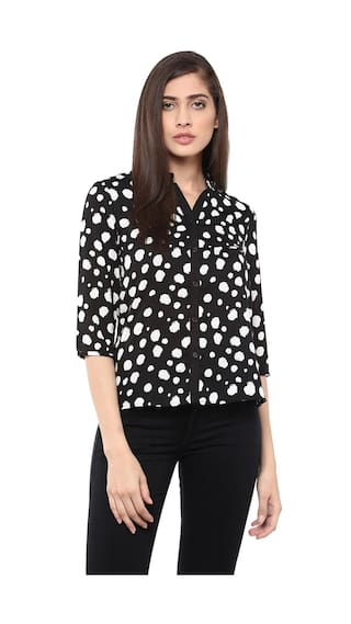 The Vanca Front Button Down Flare Shirt In Black Print
