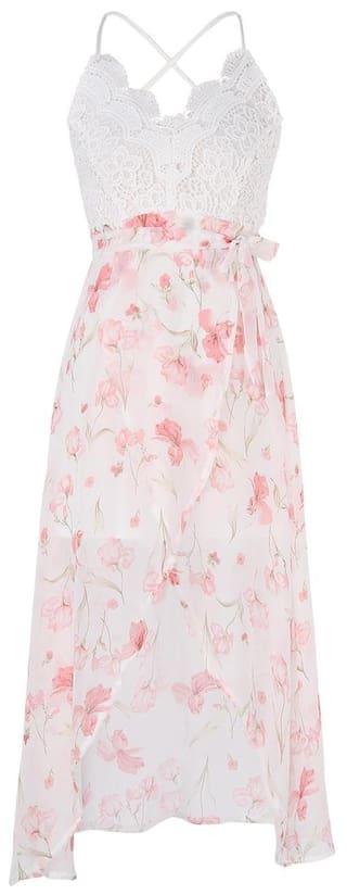 Front Floral Print Maxi Dresses #LL Store