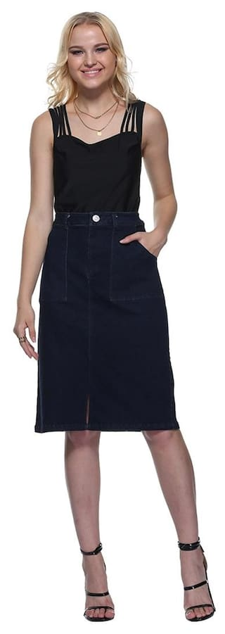 Pockets With Denim Slit Front Skirt IwAqCgB