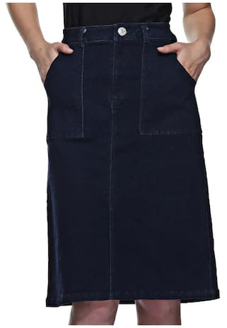 Pockets Front Denim Skirt Slit With x1ZqI1