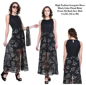 Front Slit Floral Print Georgette Long Dress By Klick2Style