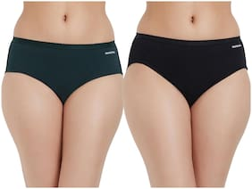 Fruit Of The Loom Pack Of 2 Solid Mid Waist Hipster Panty - Green & Black