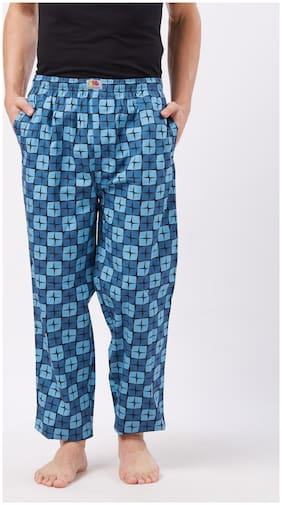 Fruit Of The Loom Men Cotton Printed Pyjama - Blue