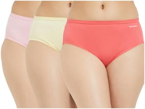 Fruit Of The Loom Pack Of 3 Solid Mid Waist Hipster Panty - Multi