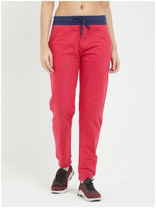 Fruit Of The Loom Women Regular fit Cotton Solid Track pants - Pink