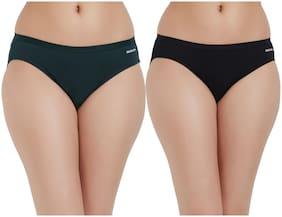 Fruit Of The Loom Pack Of 2 Solid Mid Waist Bikini - Green & Black