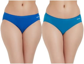 Fruit Of The Loom Pack Of 2 Solid Mid Waist Hipster Panty - Blue & Turquoise
