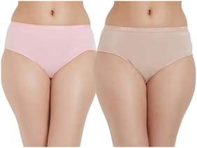 Fruit Of The Loom Pack Of 2 Solid Mid Waist Hipster Panty - Pink & Beige