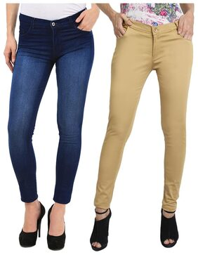 FUEGO FASHION WEAR COMBO OF JEANS AND FORMAL TROUSER FOR WOMEN-PACK OF 2