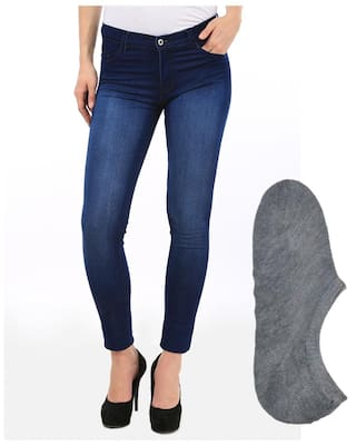 Fuego Fashion Wear Blue Jeans And Stylish Socks For Women