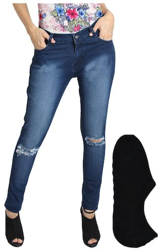Fuego Fashion Wear Blue Jeans And Stylish Socks For Women