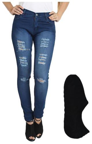 Women Wear Fashion For Fuego Blue Socks Stylish And Jeans z8qZwxT