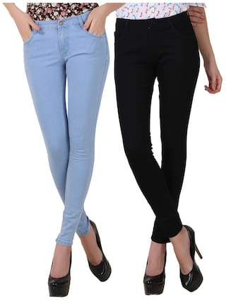 FUEGO FASHION WEAR BLUE AND BLACK JEANS FOR WOMEN-PACK OF 2