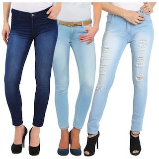 Fuego Fashion Wear Combo of Women's Lycra Jeans-Pack of 3