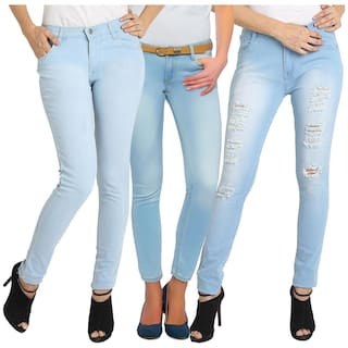 Fuego Fashion Wear Combo of 3 Women's Lycra Jeans-Pack of 3