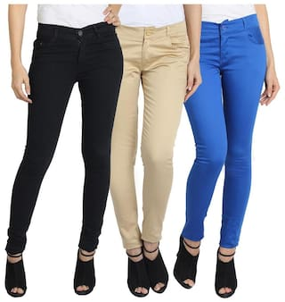 PACK COTTON AND WEAR FASHION OF WOMEN FOR FUEGO JEANS 3 TROUSER DENIM qaZznwnf
