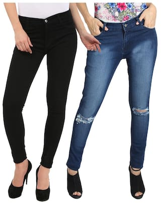 Fuego Fashion Wear Black And Blue Jeans For Women-pack Of 2