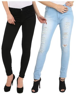 Fuego Fashion Wear Black And Light Blue Jeans For Women-pack Of 2