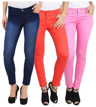 FUEGO FASHION WEAR DENIM JEANS AND COTTON TROUSER FOR WOMEN- PACK OF 3
